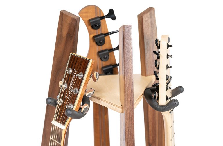hardwood walnut guitar stand