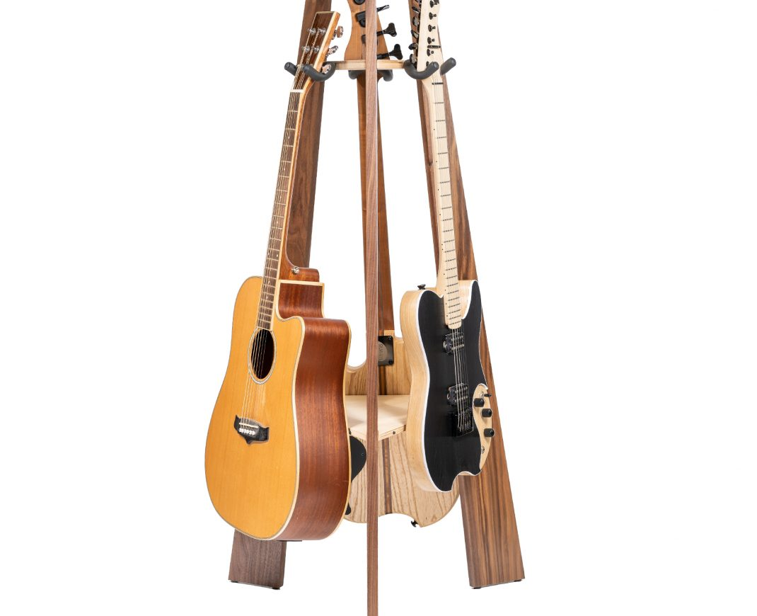 Ruach GR-1 Premium Wooden 3 Way Multi Guitar Stand Display Rack - Walnut